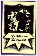 Silhoette Postcard Fröhliche Weihnacht Christmas Santa Claus Germany Dusseldorf - Scherenschnitt - Silhouette