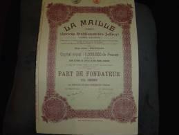 """Part Fondateur""""La Maille""""Anc.Et.Joffroi Bruxelles1924 Textile Excellent état,avec Coupons - Industrie"""