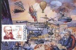 Centenaire Bibliotheque AMAN  Jules VERNE 20.000 Lieues Sous Les Mers - NAUTILUS  Carte Maximum  Roumanie/Romania 2008 - Sous-marins