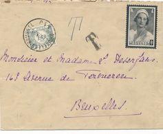 BELGIQUE - ENVELOPPE AVEC TIMBRE + TIMBRE TAXE + CACHET T CAD BRUXELLES BRUSSEL DU 7 OCTOBRE 1936 - Covers