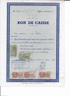 Bon De Caisse De 1958 Pour Un Montant De 1.000.000 Francs Avec 5 Fiscaux : Orange (200 Et 300 Frs) Et Vert (2.000 Frs) - Revenue Stamps