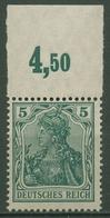 Deutsches Reich 1915/19 Germania Kriegsdruck Oberrand 85 II A P OR Postfrisch - Germany