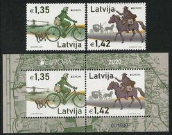"""LETONIA /LATVIA /LETTLAND /LETTONIE -EUROPA 2020- """" ANCIENT POSTAL ROUTES """"  -  SET + SOUVENIR SHEET - Europa-CEPT"""