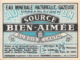 Etiquette EAU MINERALE NATURELLE GAZEUSE SOURCE BIEN-AIMEE DU BOIS LANTAL - CHANEAC (Ardèche) - Other