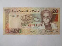 Rare! Malta 20 Lira 1967(1986) Banknote In Very Good Conditions - Malta