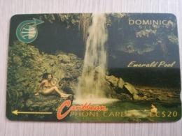 DOMINICA   GPT $ 20,-  EMERALD POOL      DOM-4B    4CDMB  WHITE BAR   Fine Used Card  ** 2783** - Dominica