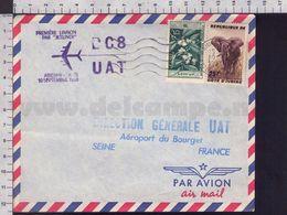 C9323 COTE D IVOIRE Postal History 1960 ELEPHANT  AFRIQUE OCCIDENTALE FRANCAISE CACHET PREMIERE LIAISON JETLINER ABIDJAN - Costa D'Avorio (1960-...)