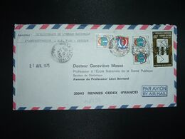 LETTRE PAR AVION Pour FRANCE TP CONGRES MONDIAL 40F + GAGNOA 10F X3 + DALOA 5F OBL.18-4 1975 - Costa D'Avorio (1960-...)