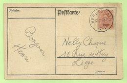 BZ 84 (opdruk Eupen) Op Brief Stempel HERGENRATH (Rare Bureau !!!!) (276) - [OC55/105] Eupen/Malmedy
