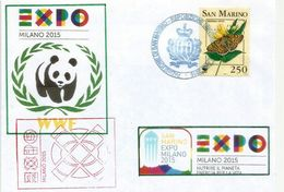 SAN MARINO .EXPO MILAN 2015, Belle Lettre WWF Du Pavillon De SAN MARINO.Cluster Bio-Mediterraneo.Timbre WWF. (RARE) - W.W.F.