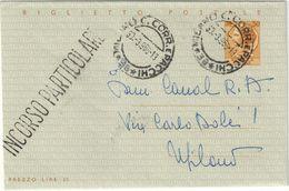 """REPUBBLICA ITALIANA BIGLIETTO POSTALE TIPO """"SIRACUSANA"""" DA L. 30 SPEDITO DA MILANO IL 30.3.1966 - CATALOGO FILAGRANO B46 - Ganzsachen"""
