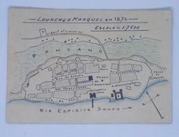 F74) Raro África Portuguesa Mapa De Lourenço Marques Em 1876 Carte De Delagoa Bay  Canto Dobrado/bent Corner - Mozambique