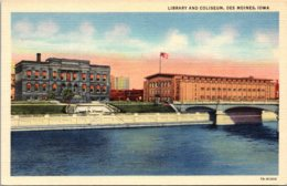 Iowa Des Moines Library And Coliseum Curteich - Des Moines