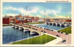 Iowa Des Moines Bridges Over Des Moines River 1945 Curteich - Des Moines