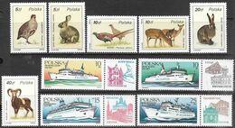 Poland  1986  Sc#2719-24 Wildlife & 2729-32  Ferryboats  MNH  2016 Scott Value $3.25 - Unused Stamps