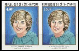 IVORY COAST 1982 Diana Birthday Charles' Wife 450franc IMPERF.PAIR - Costa D'Avorio (1960-...)