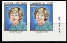 IVORY COASIVORY COAST 1982 Diana Birthday Charles' Wife 450franc CORNER IMPERF.PAIR - Costa D'Avorio (1960-...)
