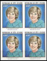 IVORY COAST 1982 Diana Birthday Charles' Wife 450franc IMPERF.4-BLOCK - Costa D'Avorio (1960-...)