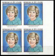 IVORY COAST 1982 Diana Birthday Charles' Wife 450franc MARG.IMPERF.4-BLOCK - Costa D'Avorio (1960-...)