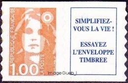 France Marianne Du Bicentenaire N° 3009 A ** Ou 8 A Autoadhesif -  BRIAT - Le 1.00 Fr Orange + Vignette - 1989-96 Marianna Del Bicentenario