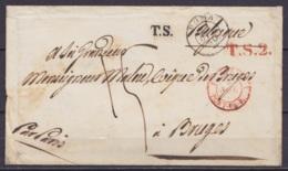 """LSC (env.) Càd ROMA /25 OTT 1850 Pour Evêque De BRUGE Par Paris - Griffes """"T.S."""" & """"T.S.2"""" - Càd """"PONT-DE-BEAUV. 3"""" - Po - 1849-1850 Medallions (3/5)"""