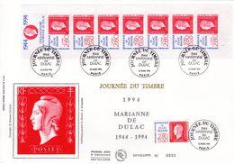 """"""" JDT 1994 : MARIANNE DE DULAC """" Sur Enveloppe 1er Jour Grand Format N°tée Sur Soie N° YT BC2865. Parfait état FDC - Sonstige"""