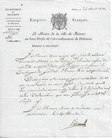 Lettre Du Maire De Bienne (Suisse) Au Sous-préfet De Délémont, 26/8/1813 - Documents Historiques