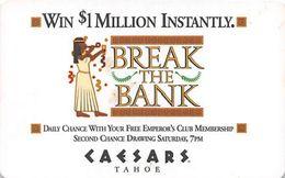 Caesars Tahoe Casino - Lake Tahoe, NV - Rare Break The Bank Hotel Room Key Card - Hotel Keycards
