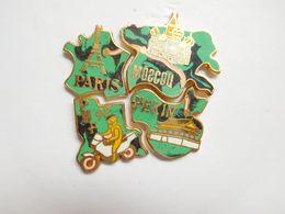 Beau Puzzle De 4 Pin's , Auto Moto , Rallye Paris Moscou Pékin , Tour Eiffel , Vert - Rally