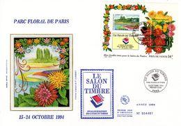 """"""" PARC FLORAL DE PARIS """" Sur Enveloppe 1er Jour Grand Format N°tée Sur Soie N° YT BF 16 Parf état FDC - Sonstige"""