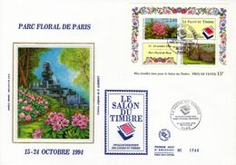 """"""" PARC FLORAL DE PARIS """" Sur Enveloppe 1er Jour Grand Format N°tée Sur Soie N° YT BF 15 Parf état FDC - Sonstige"""
