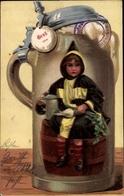 Artiste Cp Oktoberfest München 1901, Bierkrug, Münchner Kindl Auf Bierfass - Auguri - Feste