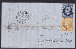 France, Bas Rhin - Yvert N° 13A Et 14A, Pc 2270 Sur LAC De Niederbronn Du 27/3/1856 Pour La Bavière - Pli - 1849-1876: Periodo Classico