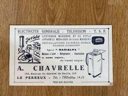 V P : Buvard :A.  Chavrelle  , LE  PERREUX , Télévision   électricité , Radio - Löschblätter, Heftumschläge