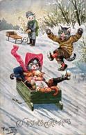 Katze, Katzen Beim Schlitten Fahren, Weihnachten, Sign. Arthur Thiele - Thiele, Arthur