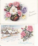 Ill Gougeon,2 Cartes,  Bonne Année, Paysage De Neige Et Vase De Roses - Neujahr