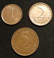 BULGARIE - BULGARIA - Lot  De 3 Pièces - 1 - 2 - 5 STOTINKI 1999 - KM 237a -  KM 238a -  KM 239a - Bulgaria