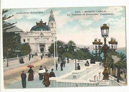 CPA ,Monaco , N°855 ,Monte Carlo , Le Théâtre Et Nouvelles Terrasses ,animée ,Ed. Giletta ,1908 - Terrassen