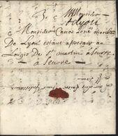 """""""De Lyon"""" Manuscrit (Lenain N°3) 1695 Sur Lettre Pour Seurre Taxe 3 Manuscrite - Marcophilie (Lettres)"""