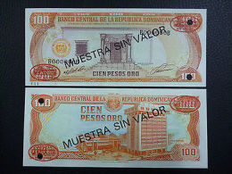 DOMINICAN REPUBLIC NOTE 100 PESOS ORO 1991 SPECIMEN P 136s UNC - República Dominicana