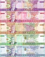 TURKMENISTAN Set 5v: 50 100 500 1000 5000 Manat 2005 P- 17 18 19 20 21 UNC - Turkménistan