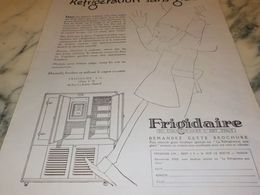 ANCIENNE PUBLICITE REFRIGERATION SANS GLACE  FRIGIDAIRE  1927 - Scienze & Tecnica
