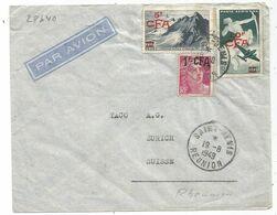 GANDON  CFA 1FR+ PA 20FR+5FR LETTRE AVION SAINT DENIS 19.8.1949 REUNION POUR SUISSE - 1945-54 Maríanne De Gandon