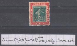 """France Semeuse Camée N° 157 Obl Sur Porte-timbre """"Dieu Protège La France"""" - Publicités"""