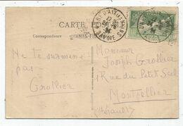 JEUX OLYMPIQUES 10C SEUL CARTE 5 MOTS GARE D'AIX LES BAINS 24.6.1924 SAVOIE - Poststempel (Briefe)