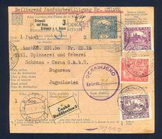 CZECH - Parcel Card Sent From Grunwald Nad Nisou Via Českih Budjeovica And Maribor To Karlovac 1921. Customs Paid In Kar - Sonstige