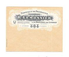 Belle Enveloppe Publicitaire : Fabrique De Fromages, R. LEMONNIER, à La BREVIAIRE Par LIVAROT - Advertising