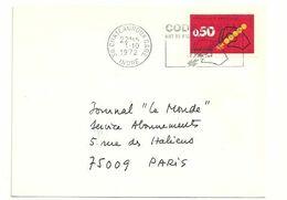 INDRE - Dépt N° 36 = CHATEAUROUX GARE 1972 =  FLAMME CONCORDANTE =  SECAP Illustrée ' CODE POSTAL / Mot Passe' - Postleitzahl