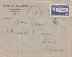 L  Hôtel Des Glaciers  VAL D'ISERE  SAVOIE  TP Seul Obl 5 VIII 1935  Poste Aérienne Vers Belgique - Postmark Collection (Covers)