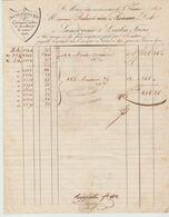 Ht RHIN :LAMOUREUX & LESSLIN, Guingans, Toiles, Mouchoirs à Ste Marie Aux Mines / Fact De 1837 - Textilos & Vestidos